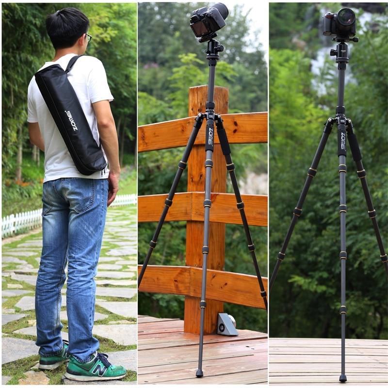 ZOMEI Z699C Carbon Fiber Tripod for Camera with Ball Head Compact Heavy Duty Travel Tripode -11