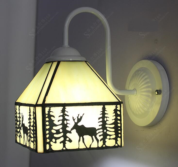 Tiffany glass elk wall lights stained glass double wall lamp elk aisle single head bathroom mirror Wall lamps ZAG tiffany baroque sunflower stained glass iron mermaid wall lamp indoor bedside lamps wall lights for home ac 110v 220v e27