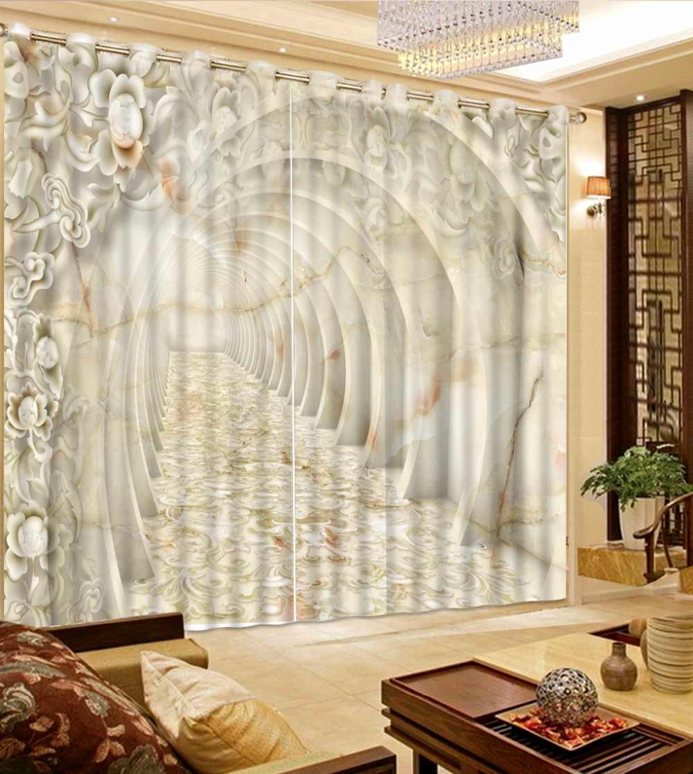 European Marble Flower Design Curtain Extend Space Curtains For Living Room New Arrival Sheer Kitchen Curtains