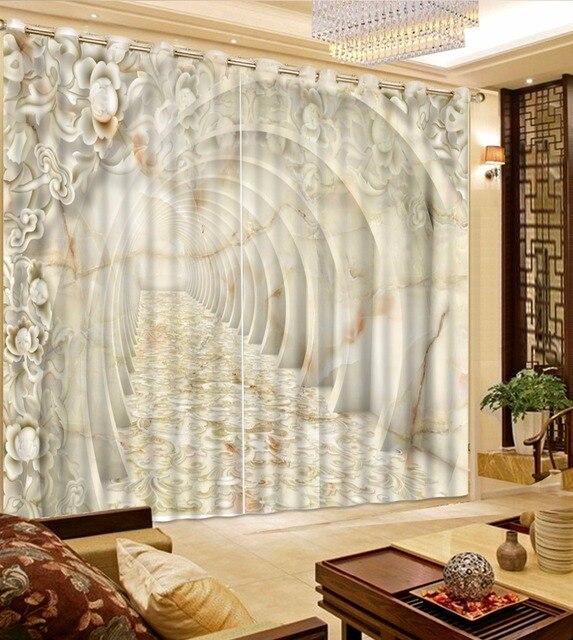 Mármol europeo flor diseño cortina ampliar el espacio Cortinas para ...