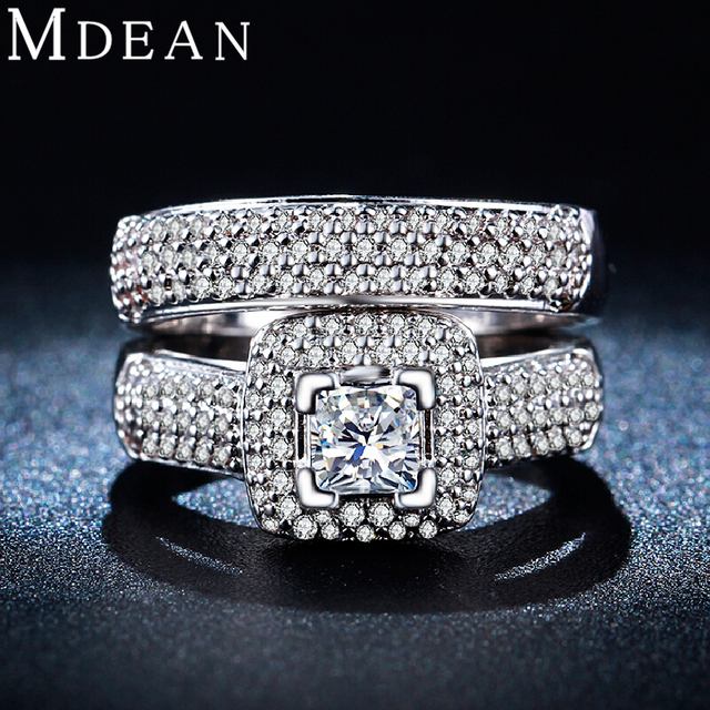 MDEAN Обручальное Кольцо Наборы для Женщин Белый Позолоченный кольцо винтаж bague свадебные обручальные кольца женщин bijoux Аксессуары MSR149