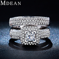 MDEAN Wedding Ring Sets for Women White Gold Plated ring vintage bague wedding engagement women rings bijoux Accessories MSR149