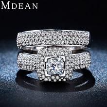 MDEAN Juegos de Anillos de Boda para Las Mujeres Oro Blanco Plateado bijoux bague compromiso de la boda anillos de las mujeres anillo de la vendimia Accesorios MSR149