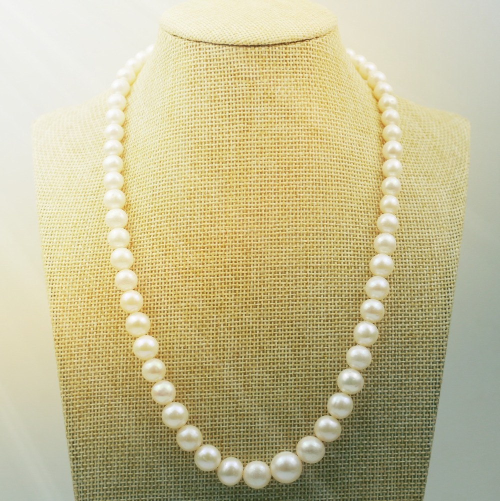 MADALENA SARARA AA Freshwater Pearl Round Shape Chinese Tower Shape Pearl Necklace 6 12mm