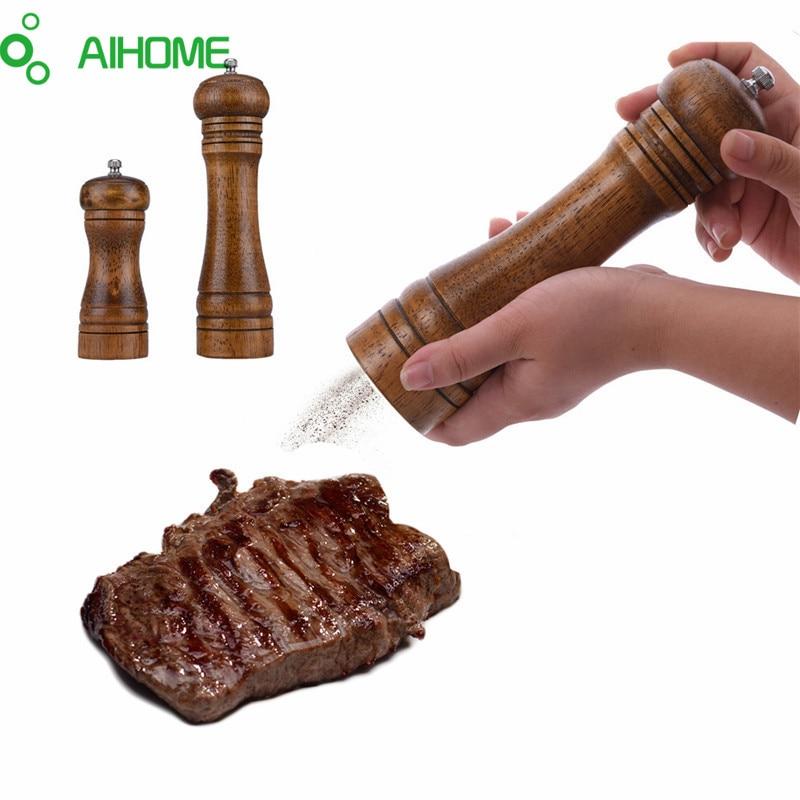 AIHOME Дървена сол и пипер мелници сол и пипер и подправки мелници мелници ръчно пипер мелница 2 размери творчески кухненски инструменти  t