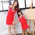Мода Мать Дочь Платья Симпатичные Семья Посмотрите Соответствующие Наряды Мама И Дочь Детские Девушки Платье в Полоску Детская Одежда GH241