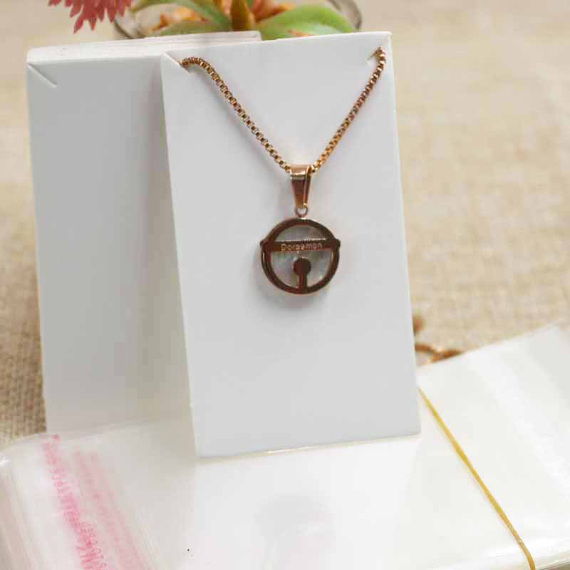 8*4.5cm DIY Kraft/white Blank Jewelry Card Small Cute Necklace Pendant /charming Package & Display Card 100pcs+100oppbag