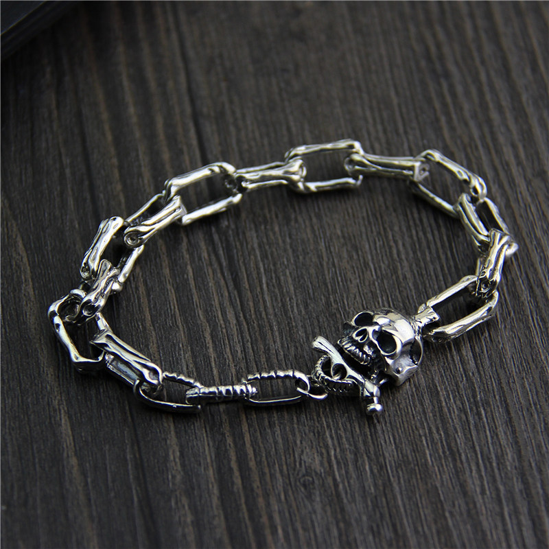 S925 bracelet en argent sterling et bijoux de mode rétro crâne en argent