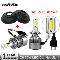 PANYUE Car Styling LED Super Bright Headlights COB H4 H7 Auto Head Lamp Lights 72W 7600LM