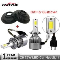 PANYUE Car Styling LED Super Bright Headlights COB H4 H7 Auto Head Lamp Lights 72W 7600LM