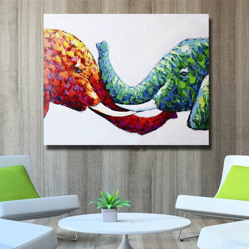 Colorful Lovely Elephants Pictures Handpainted Abstract ...