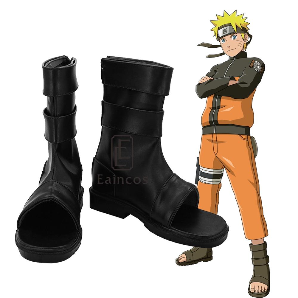 NARUTO Uzumaki Naruto Cosplay Shoes Black Peep Toe Boots Customized Size Сникеры