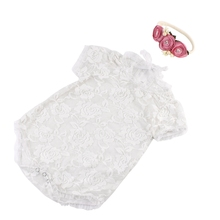 Cute Baby Photography Props Lace Costume Newborn Baby Romper Headband Infant Outfit newborn photography props baby lace romper with ribbon princess costumes set infant girls clothes yjs dropship