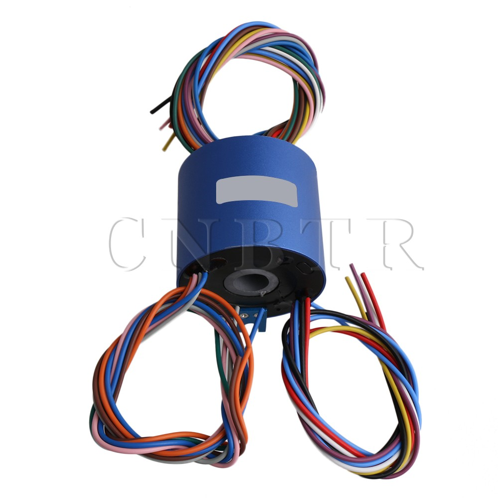 CNBTR 54x36mm Capsule Slip Ring Through Hole Dia 12.7mm 12 Circuits 380V AC/DC 10A for Wind Power Generator 5pcs 2 wires circuits 30a 22mm wind generator slip ring wind turbine slip ring rotating connector capsule slip ring