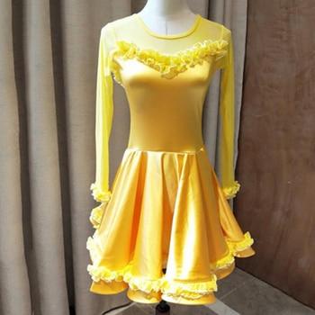 Elegant Latin Dance Dress Girls 4 Colors Ballroom Dancing Wear Tango Cha Cha Samba Rumba Performance Clothes Kids Outfits DC1480
