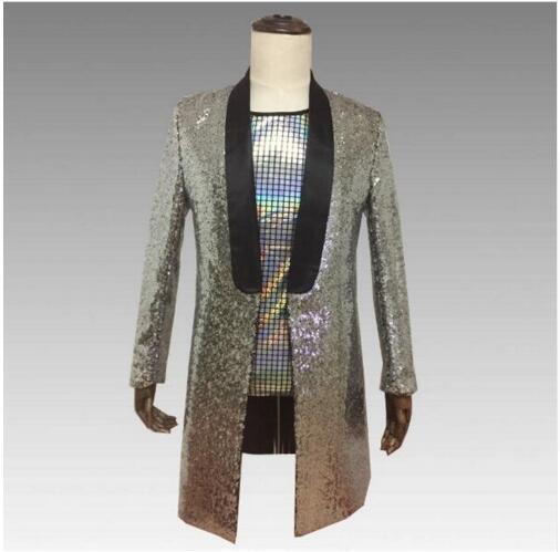 2019 brillant haute densité paillettes Slim solide veste discothèque hôte tenue hommes chanteur spectacle longue veste magicien spectacle tenue manteau