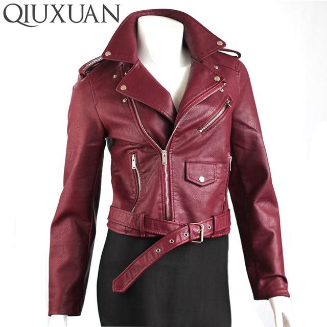Qiuxuan النساء بو الجلود سترة قصيرة معطف الشارع الشهير 2017 أزياء الربيع الخريف المرأة معطف قاطرة سترة الإناث قمم