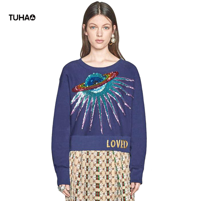2018 Rabbit Velvet Sweater Women Tops Sequined Planet Beads Embroidery Pullovers Casual Sweaters Pull Femme TG5234
