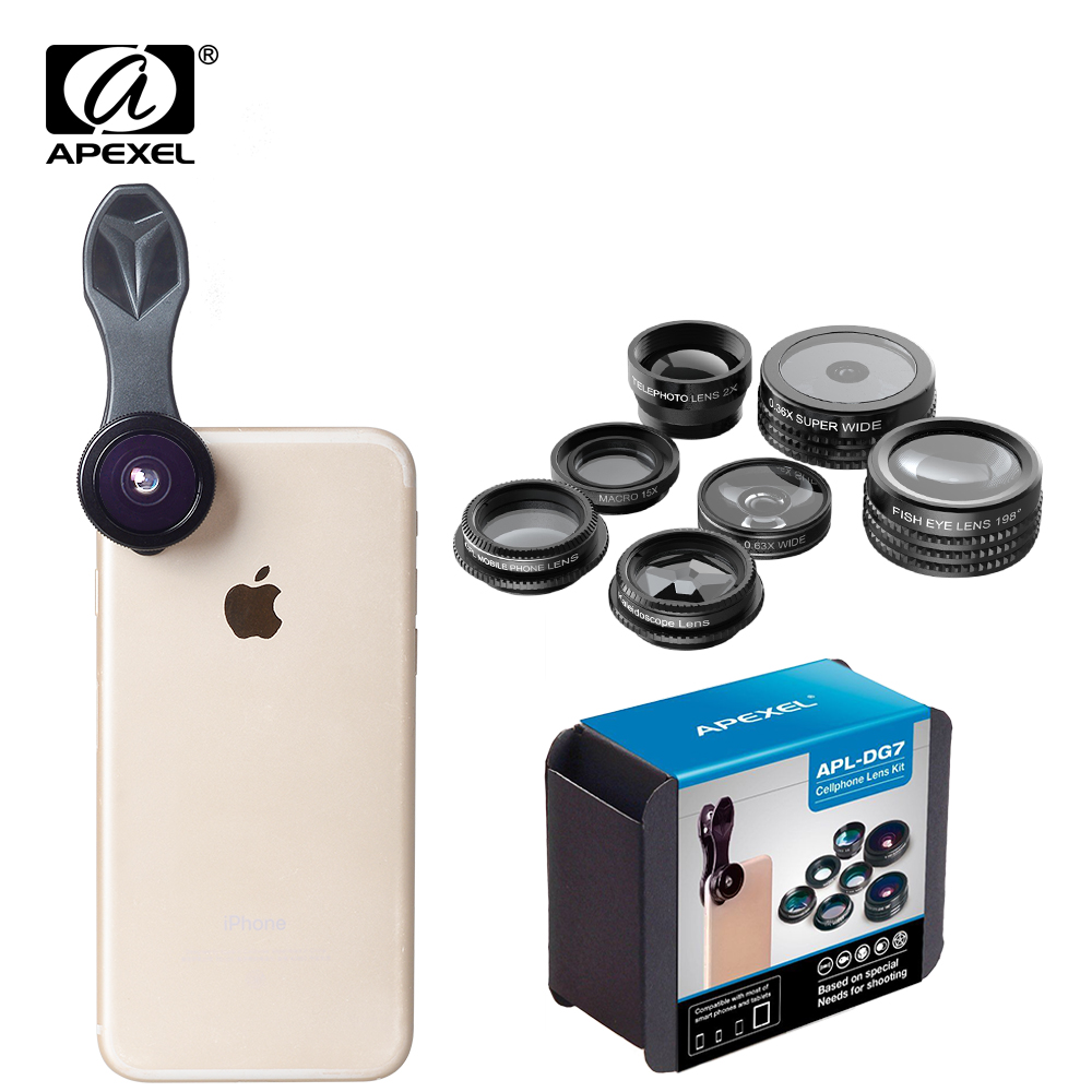 APEXEL Phone Camera Lens Kit Fish Eye Wide Angle/macro Lens CPL Kaleidoscope and 2X telephoto zoom Lens 7in1 for iPhone SAMSUNG 13