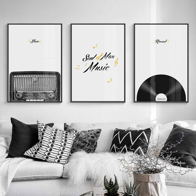 Modern Record Black and White Instrument Canvas Painting 1