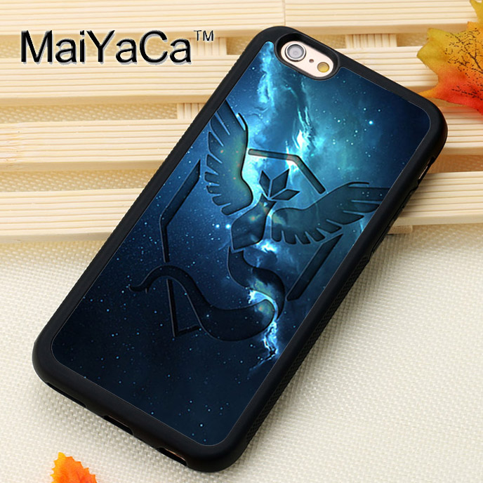 MaiYaCa Pokemons team mystic art Printed Soft Rubber Skin Mobile Phone Cases Bags For iPhone 6 6S 7 8 Plus X 5 5S SE Back Cover
