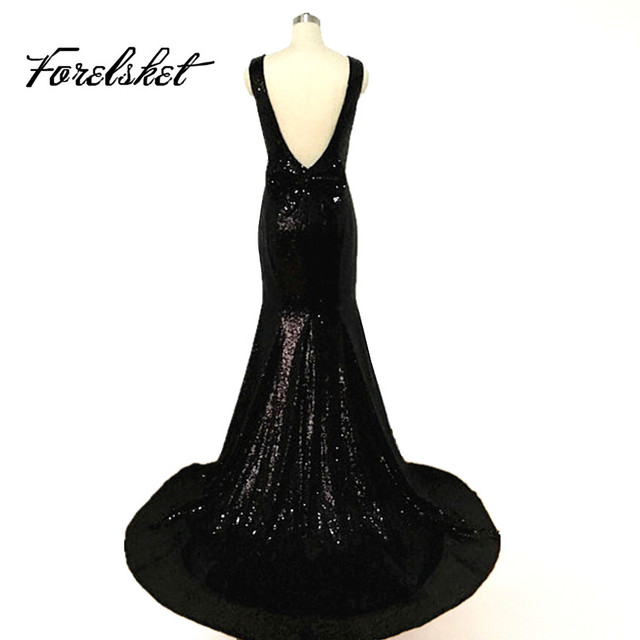 Cheap Black Evening Dresses Sparkly Sequin Long Prom Dresses 2016 ...