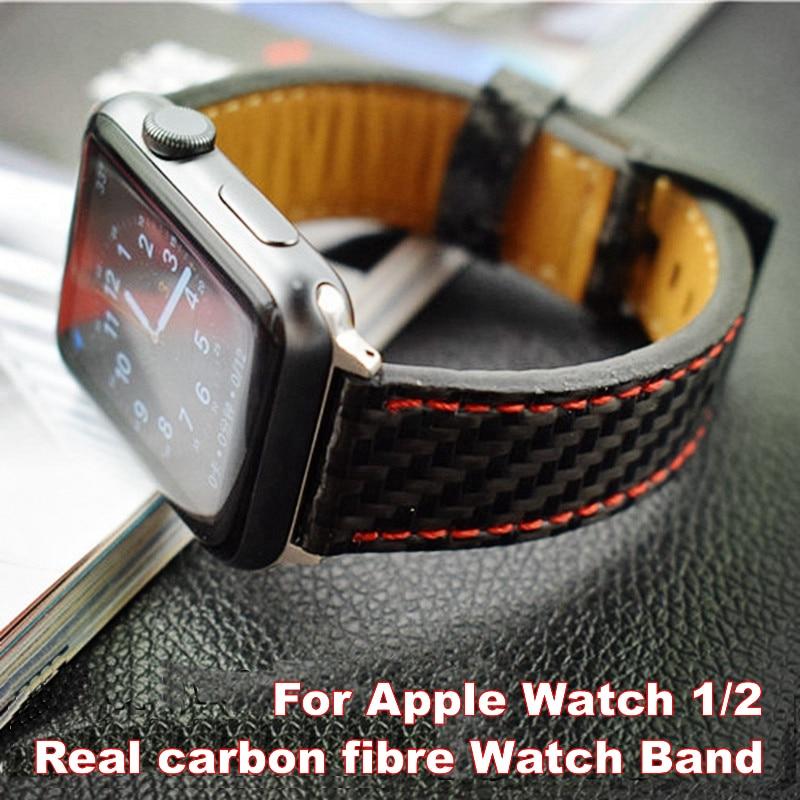 For Apple Seires 4 Watch Rem ægte kulfiber læderbånd til Apple - Tilbehør til ure - Foto 1