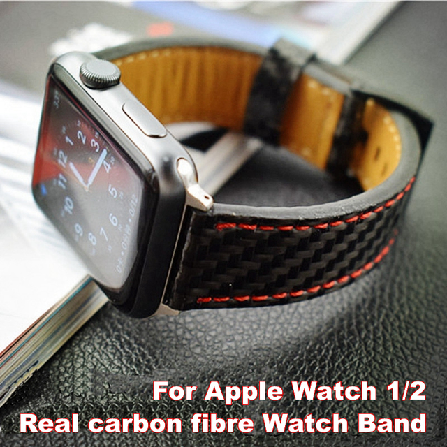 online store 6b90c 36fbc US $35.91 10% OFF For Apple Seires 4 Watch Strap Real Carbon Fiber Leather  Band For Apple Watch Series 1 2 3 Replacement Parts Wrist Bracelet-in ...