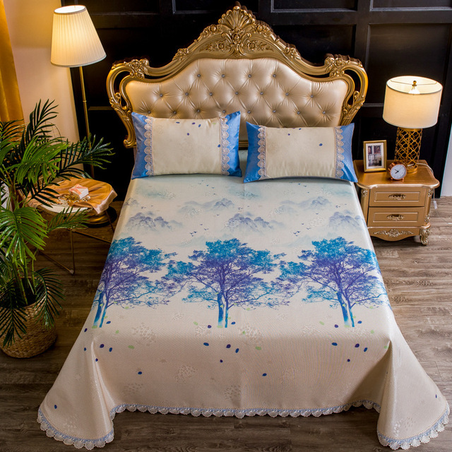 Anmino Summer Cool Bedding Sheets Fl Print Home Flat Sheet King Size With 2 Pillowcases Textiles Europe Style