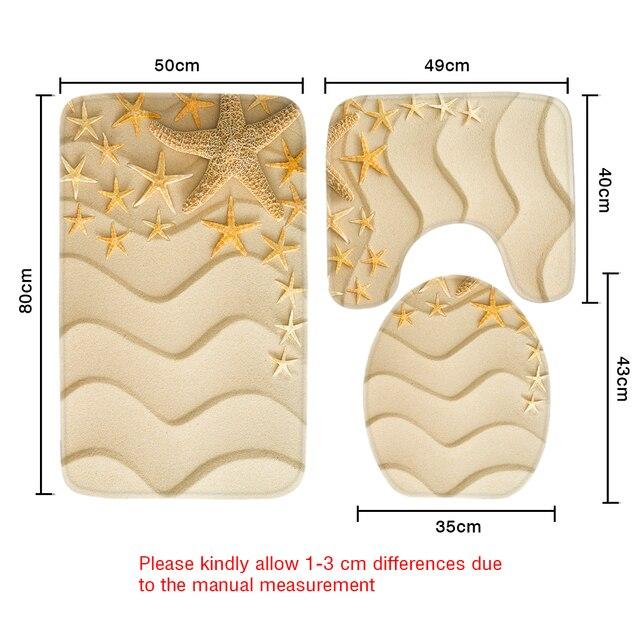 3 pz Bagno Mat Set Bigstock Starfish su Golden Spiaggia di Sabbia Modello Tappetino Da Bagno Antiscivolo Tappetino Wc Bagno Prodotti