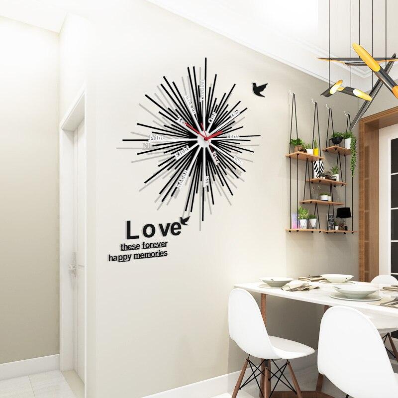 Slient Wall Clock Quartz reloj de pared Modern Design Large Decorative Clocks Wall Watch Europe Acrylic With Free Wall Stickers