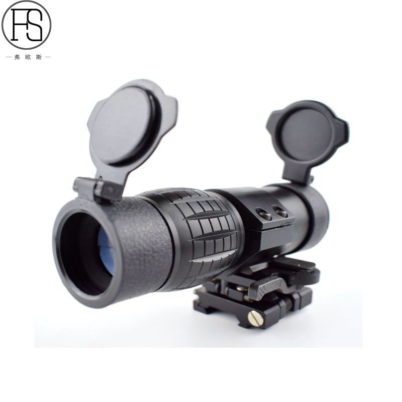 New 3X Magnifier Scope Tactical Hunting Military Optics Sight 20mm Rail Airsoft Shooting Rifle Gun Compact With Flip Up Mount