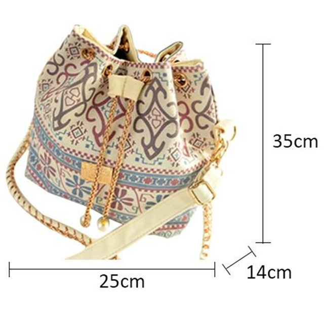 Canvas Drawstring Lady Bucket Bag 2017 New Chains Shoulder Handbags Women's Vintage Messenger Bags 4