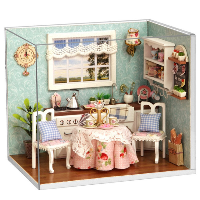Toy Dollhouse Miniature Assemble Kit With LED Furnitures Handcraft