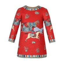 Девушка Зимой Платье 2016 Высокого класса На Заказ С Длинным Рукавом Цветочный Лошадь Красный Цвет Платья И Пиджаки