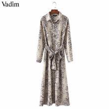 Vadim women leopard print ankle length dress bow tie sashes long sleeve retro ladies casual chic dresses vestidos QA472