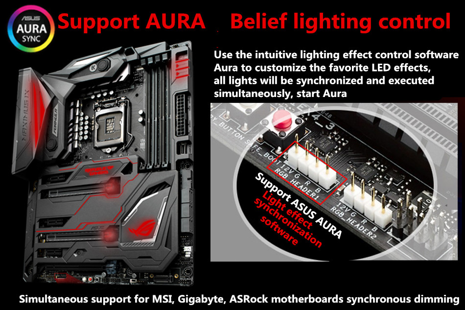 RGB Illuminated Graphics Card Bracket / Chassis Belief Lamp Vertical Jack /  Light Pollution Support ASUS AURA