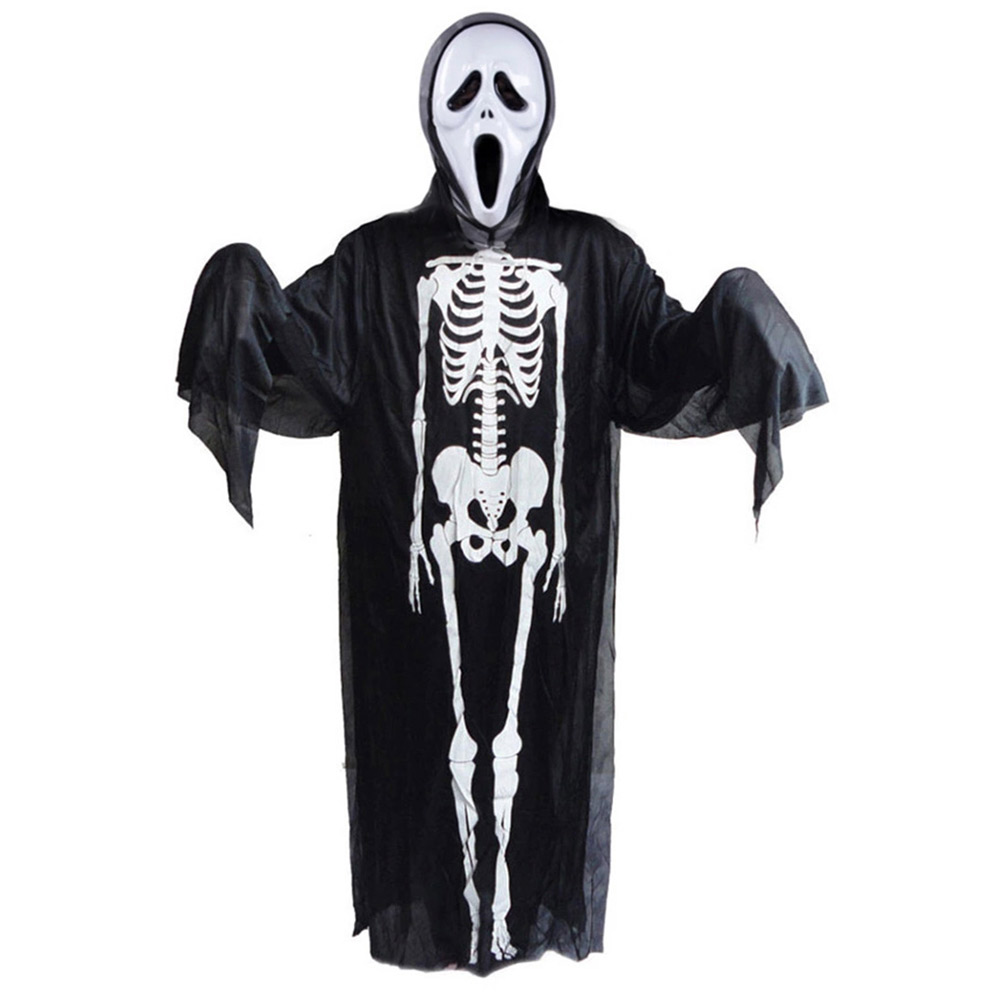 Scary Skull Skeleton Ghost Clothes+Skull Devil Mask Set Cosplay Halloween Party Adult Children Costume Supplies H9