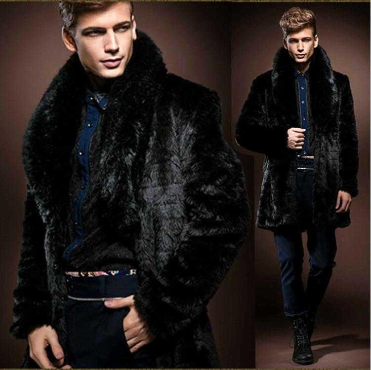 2015 Winter Black Men Faux Fur Coat Luxury Long High
