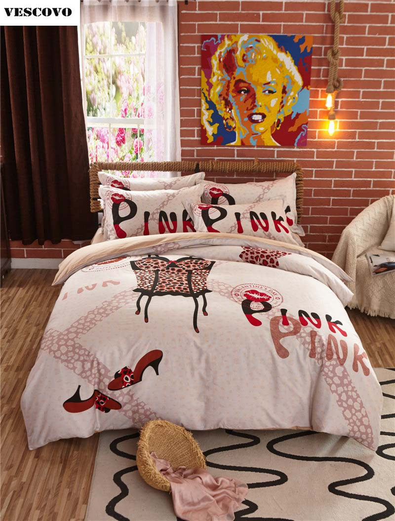 Vs pink bed sets - Pink Vs Egyptian Cotton Bed Home Textile Bedding Set Bed Linen Pillowcase Quilt Cover