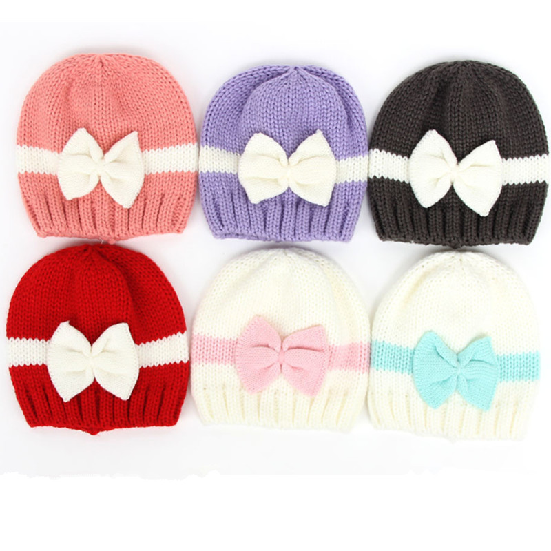 Infant Baby Girls Hat Toddlers Winter Cotton Bowknot Knitted Cap Lovely Warm Soft Beanies Bow Hats
