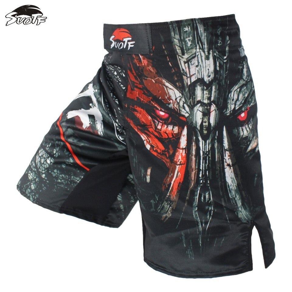 SUOTF Ferocious Fight Boxing Black Mechanical Characters Exercise Shorts Tiger Muay Thai sanda boxing clothing mma shorts mma