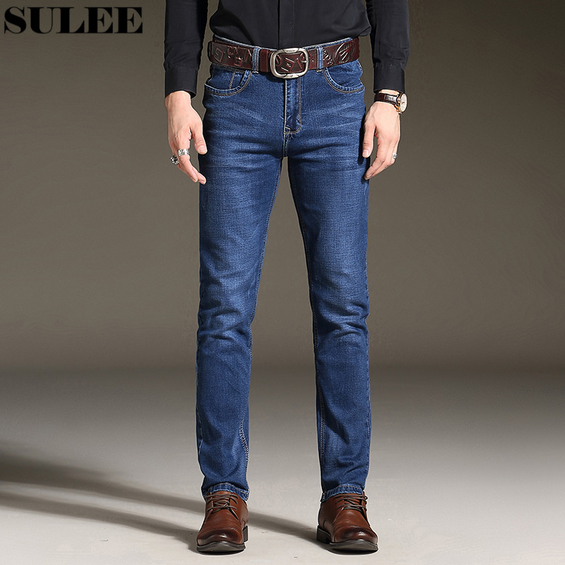 SULEE Brand Autumn Winter  Men Jeans Slight Classic Denim Pants Male Washed Baggy Blue Designer Jeans Man Casual Jeans for Men all seasons famous brand jeans men straight denim classic blue jeans pants regular fit high quality plus size 28 to 40 sulee