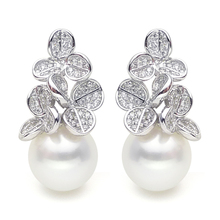 925 silver real natural big Luxurious Sterling Silver  Circle light natural pearl earrings retro temperament elegant earr