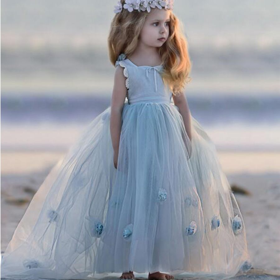 First Communion Dresses Lace Up Back and Bow Sash Appliques Tulle Sky Blue Flower Girls Gowns for Weddings Hot Sale High Quality smart skirt with high waist lace and bow back