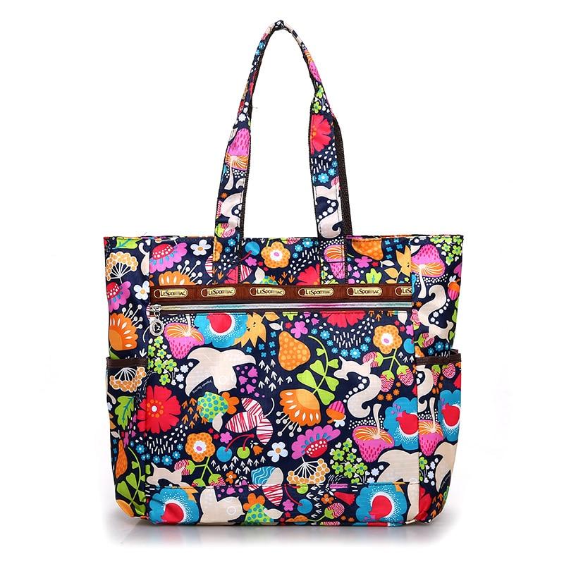 Сумка для покупок с цветочным рисунком, водонепроницаемая нейлоновая вместительная сумка, Легкая удобная или дорожная сумка в сельском сти...