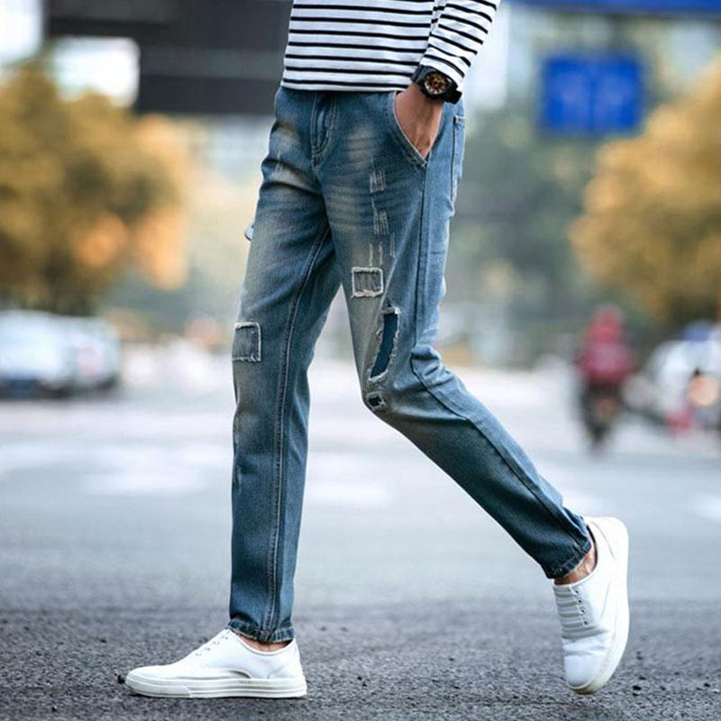 Popular Ripped Boyfriend Jeans Solid Denim Pants-Buy Cheap Ripped ...