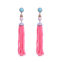 3 Color Pink&blue&White Trendy Beaded Chain Tassel Long Earrings Hot Sale Party Earrings Statement Jewelry For Dress