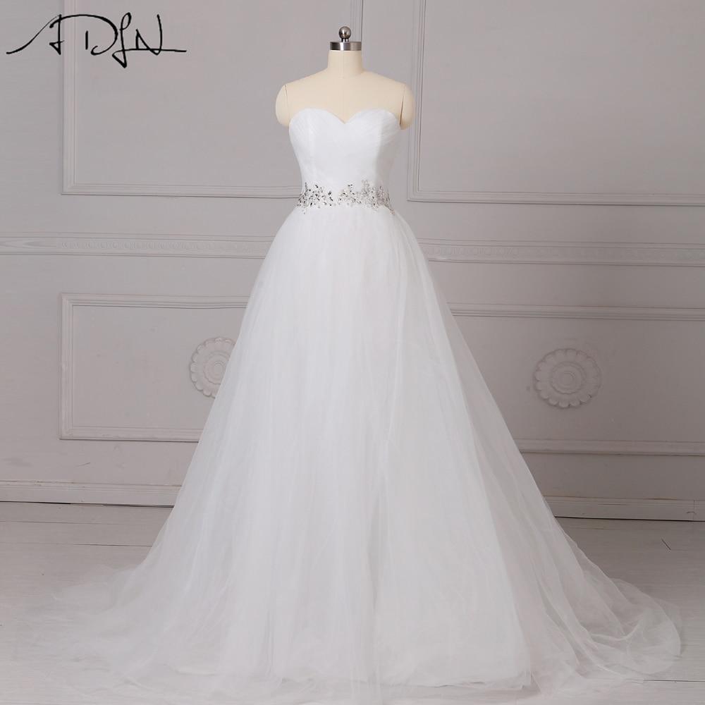 ADLN Elegantās kāzu kleitas Sweetheart Tulle Beaded Vestidos de Novia A-līnija Balts / Ziloņkaula korsete līgavas kleita pielāgota