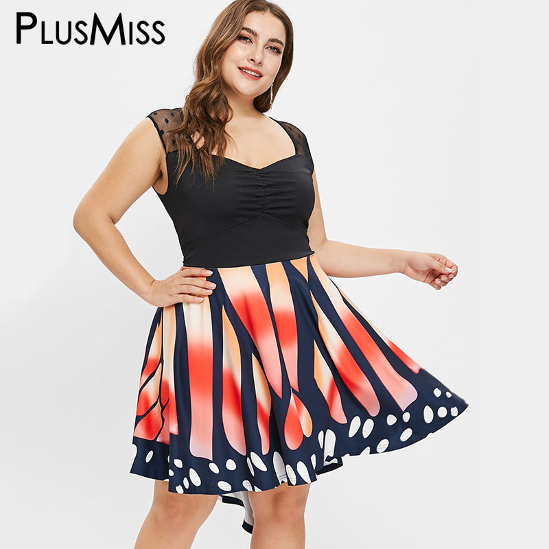 924bcd5dfed6 PlusMiss Plus Size 5XL Butterfly Printed Sleeveless Party Dresses Women Big  Size A Line Sexy Mesh